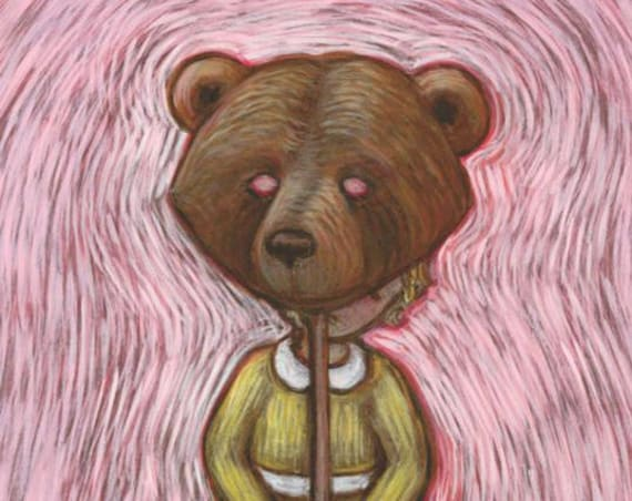 Bear art - Bear Mask print - pink nursery fairytale art