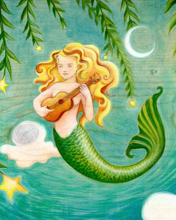 Mermaid Playing Ukulele - art print