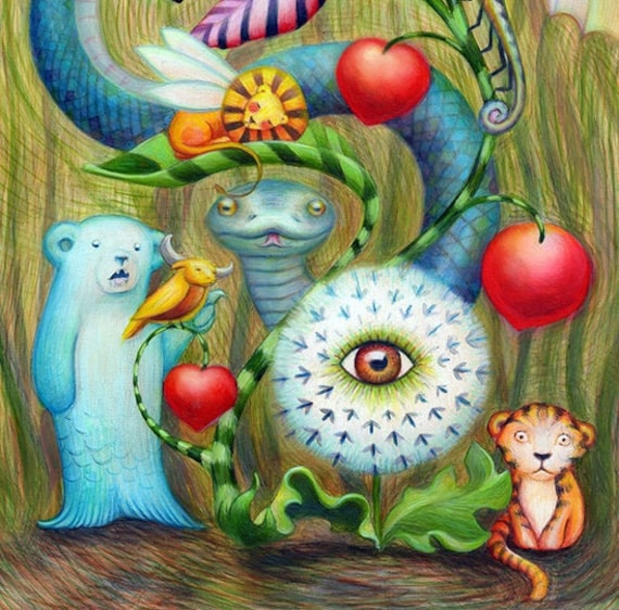 Lions Tigers and Bears / Fairytale Art / Imaginary Woodland Animals