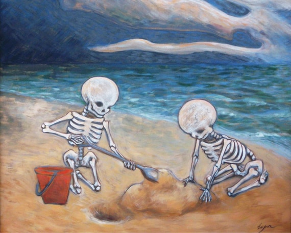 Skeleton Kids on the Beach