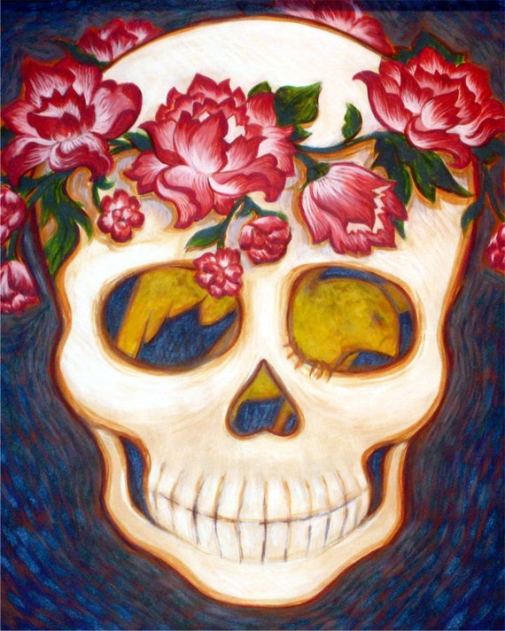 Dia de los Muertos  /  Day of the Dead /  Skull with Flowers