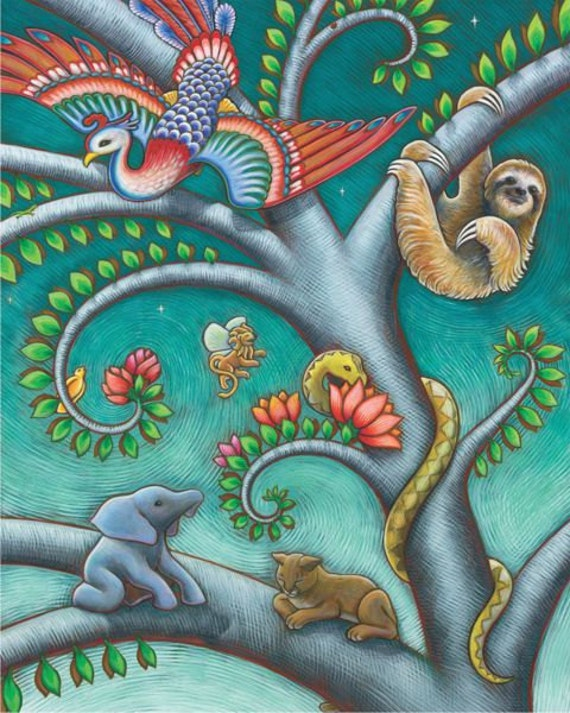 Tree of Life triptych - woodland fantasy fairytale - 11x14 print of acrylic painting