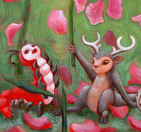 Fairytale Art / Imaginary Woodland Animals / Valentine Rose for Caterpillar / Deer Mouse