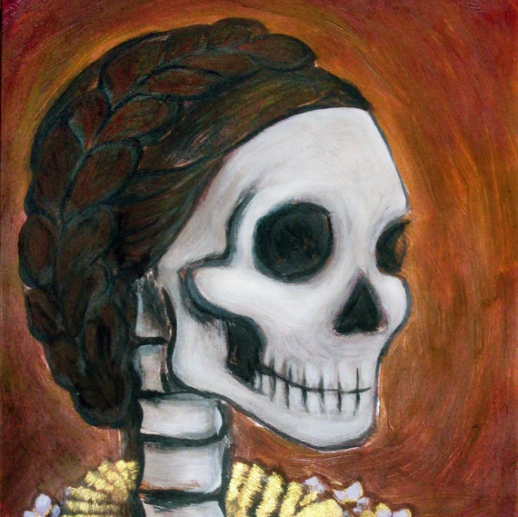 Skeleton Lady Portrait  /  Dia de los Muertos  /  Day of the Dead