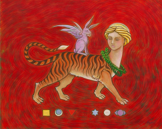 Mythological Sphinx Tiger Lady - fantasy art print