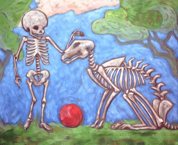 Day of the dead - Dia de los muertos art print - Happy Skeleton Dog and Boy print