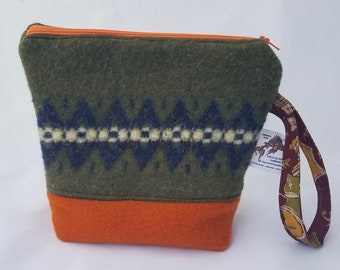 Upcycled 8x9 Project Bag - vintage sweater, felted, quilted