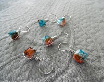"""Knitting Stitch markers, set of 6, """"Reef"""",  up to 8 mm needles"""