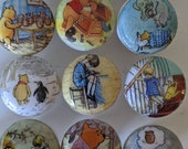 Large Winnie Pooh Dresser drawer knobs wood knobs decorated with Winnie Pooh and friends images 1 3 4 inch decoupaged. Ships free 35