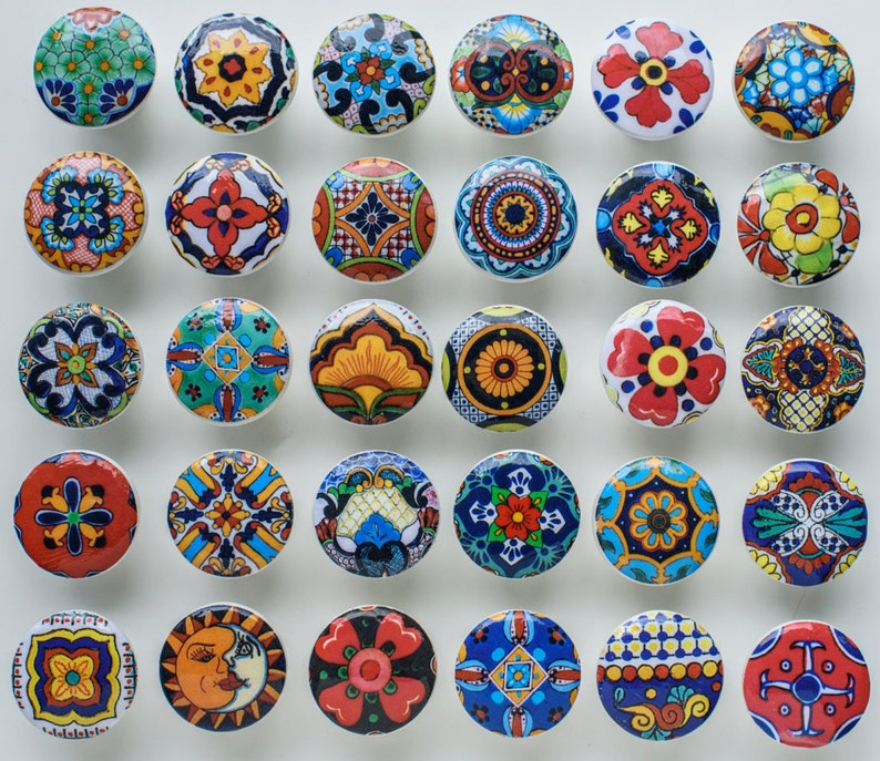 6 wooden drawer knobs; Talavera  design  hand decorated 1 12 inches diameter inside coupler and screws decoupaged Ceramic tiles designs