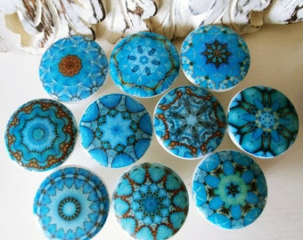 Cabinet knobs aqua blue teal hand decorated  mandalas 1 1/2 inches diameter wood turquoise drawer knobs set of 10 Ships free 35+