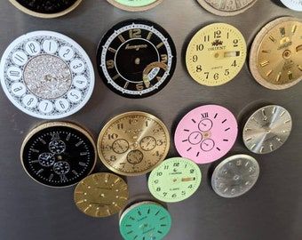 6 Unique Fridge magnets made of repurposed watch parts. Watch face fridge magnets. Repurposed watch face
