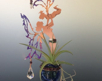 Copper Fairy Mother & Child with Hand Blown Glass Bottle and Crystal Prisms - Mother's Day Gift - Air Plant Holder, Essential Oil Deffuser