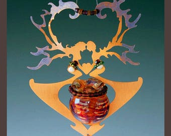 Crystal Sun Catcher and Magical Potion Bottle with Heart Lover Copper Fairies in your our choice of bottle color- red, blue or green