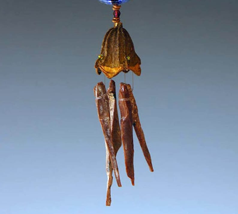 red Obsidian Wind Chime and Magical Potion Bottle with Copper Dragonfly in your choice of bottle color blue or green