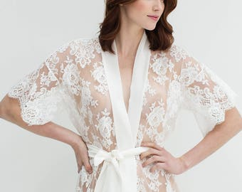 Rosa French lace kimono robe in off-white or black