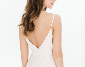3c3b0b06cbc9 Dream Day Honeymoon Bridal Silk Romper Playsuit in Blush pink