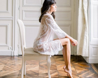 Boudoir Lace Robe in Ivory