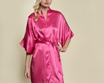 bde16946c0 Samantha Silk Bridal Robe Satin Kimono Getting Ready Bridesmaids Fuchsia  Hot Pink