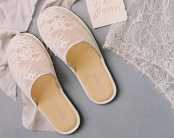 Priscilla Lace Slippers Bridal shoes