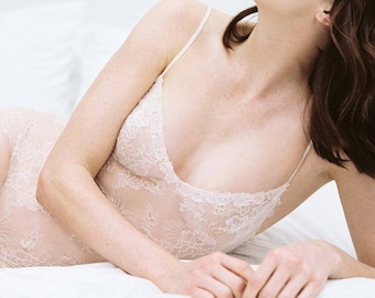 Magnolia French Chantilly Lace and tulle Bodysuit In light pale pink and nude