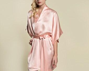3c6d307ee7 Samantha Silk Bridal Robe Satin Kimono Getting Ready Bridesmaids Ballet Pink