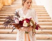 Elizabeth Lace Bridal robe Getting Ready in Ivory