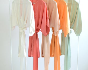 Samantha Silk Bridal Robe Satin Kimono Getting Ready Bridesmaids Robes in Earth Colors - ivory, coral, apricot, orange, green