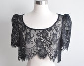 Black Swan Chantilly lace scalloped crop top