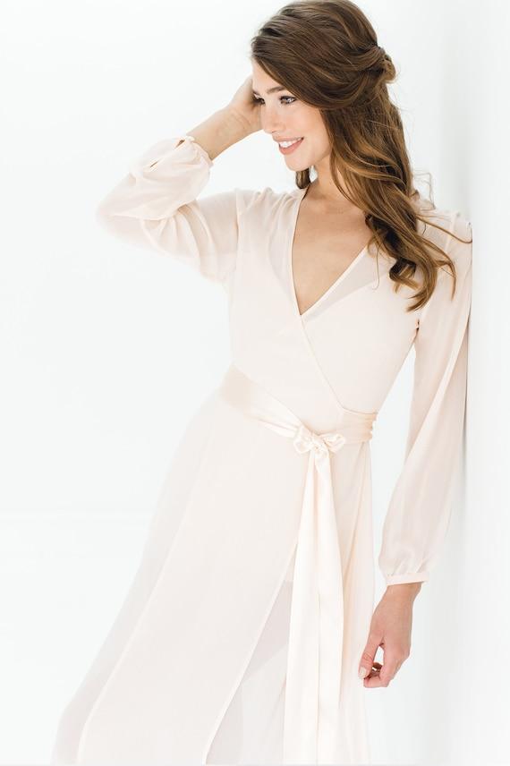 Nina Silk Chiffon Wrap Robe in Blush pink or Ivory style  14a629feb