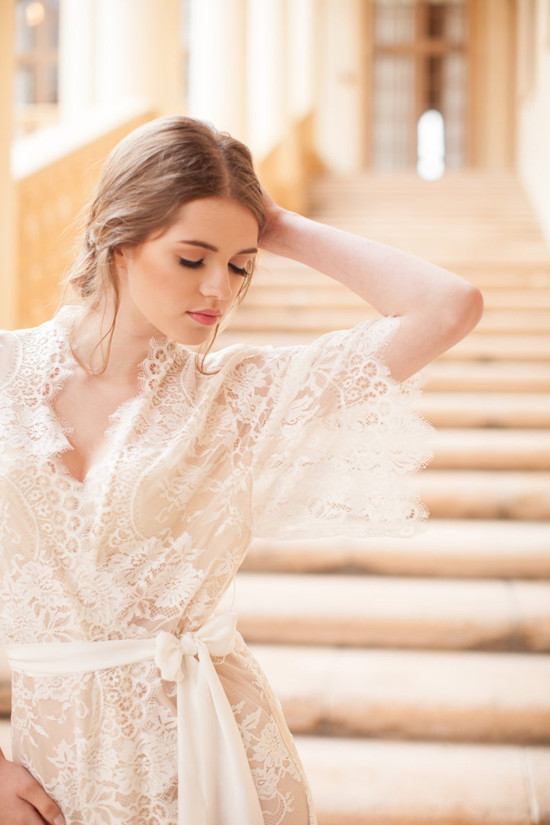 2de4cddf296 Swan Queen Bridal Lace robe kimono in Ivory with Silk