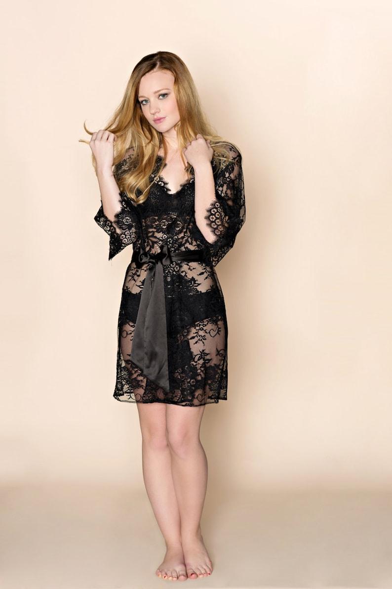 442d90b7534 Swan Queen lace kimono bridal robe in boudoir black style