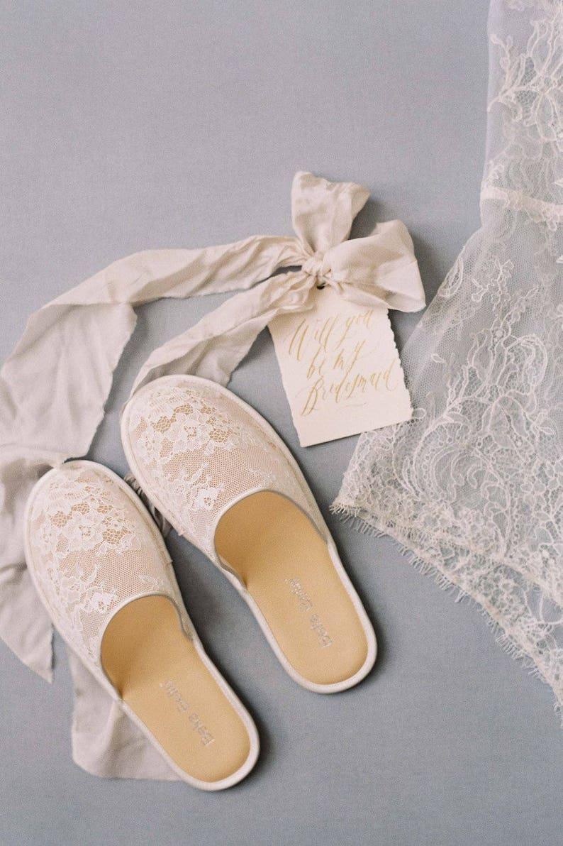 b81153358e13 Priscilla Lace Slippers Bridal shoes