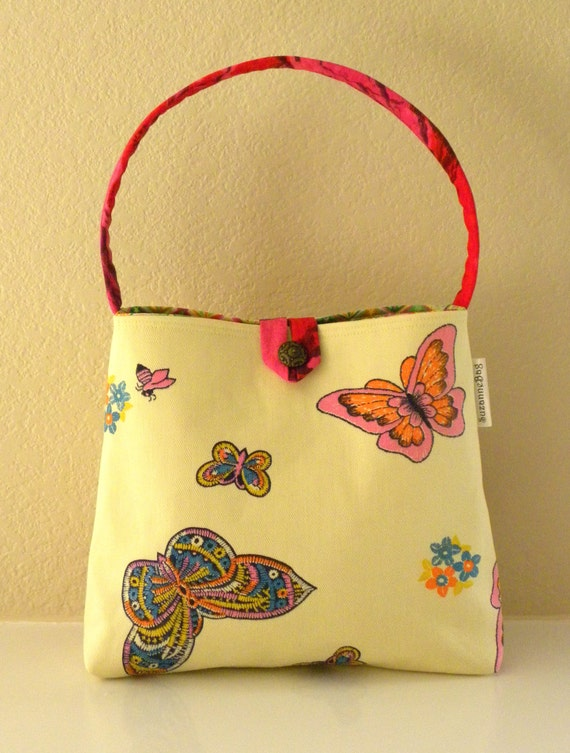 362327c253 Shoulder Bag Vintage Canvas Butterflies and Bees Pink