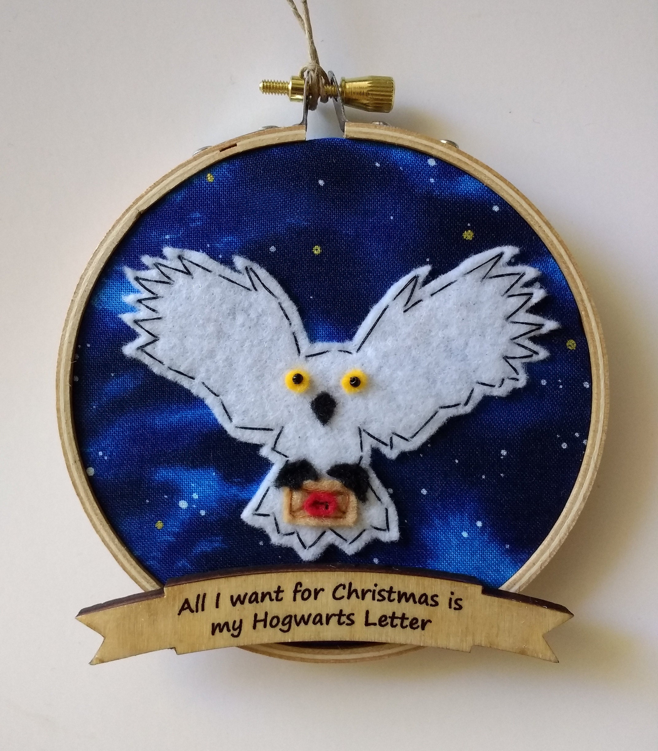 4 Hedwig Snowy Owl Embroidery Hoop Ornament