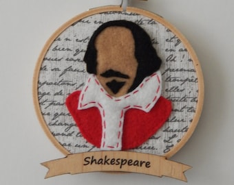 """4"""" Shakespeare Embroidery Hoop Ornament"""