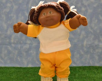 "Cabbage Patch Doll Clothes - Handmade for 16"" - 18"" Girl or Boy Dolls - Gold Sweats Outfit"