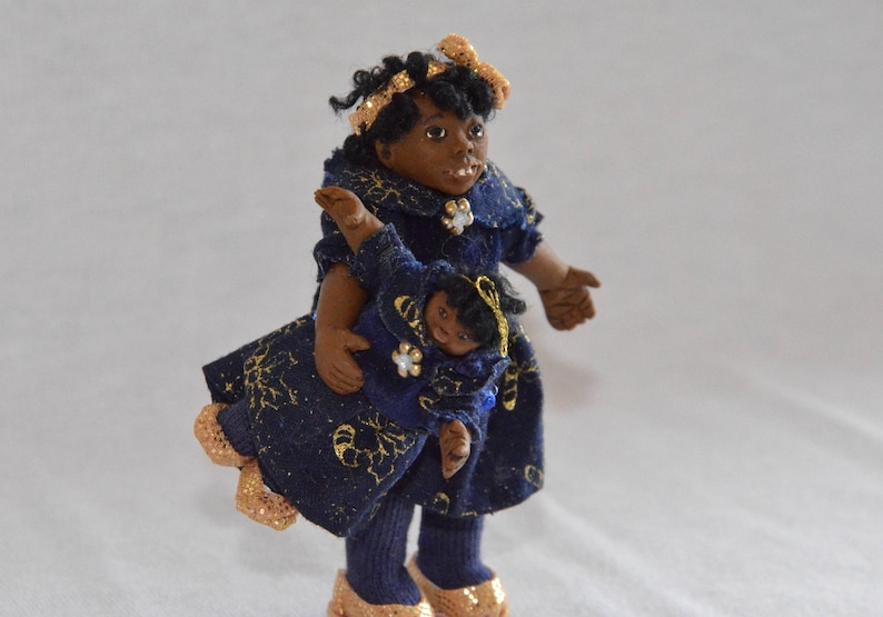 Incredible 1 12 Scale Dollhouse Miniature Doll Black African American Girl Posable With Smaller Doll Handmade Ooak Polymer Clay Tanisha Denise Download Free Architecture Designs Viewormadebymaigaardcom