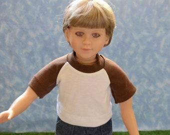 "23"" Boy Doll Clothes - Fits My Twinn - Brown and White T-Shirt - Handmade"
