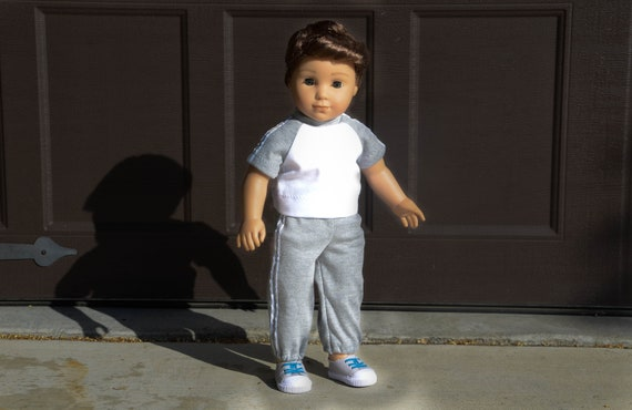 """Fits American Girl Doll Our Generation 18/"""" Boy Dolls Clothes White T-Shirt"""