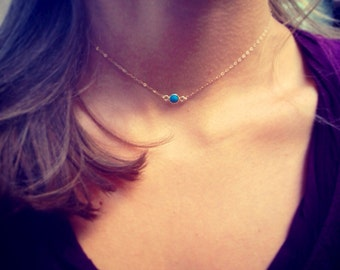 SALE!! Sterling Silver OR 14K Gold-filled/Tiny Vermeil REAL Turquoise Stone Necklace/ Choker.   Your everyday layering piece!