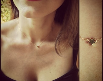 Tiny, Petite, Small Gold Star Necklace/Choker with 14K Gold-filled Chain