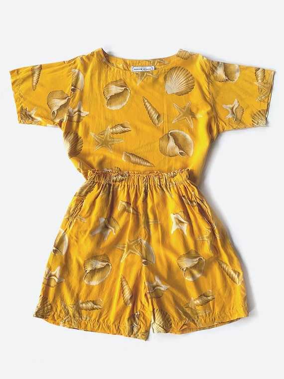 Yellow Silk Seashell Print Set