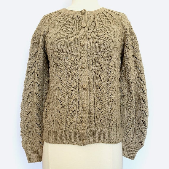Tan Cable Knit Cardigan Sweater