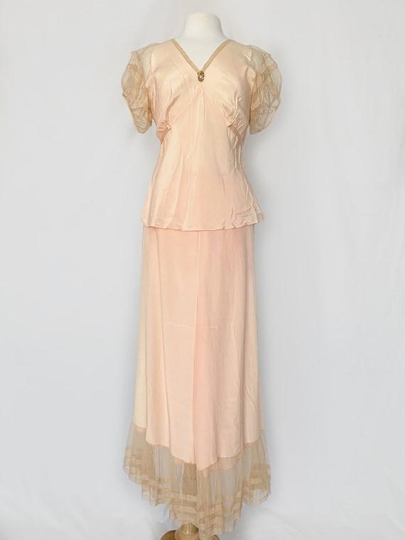 40's Peach Lace Nighty Set