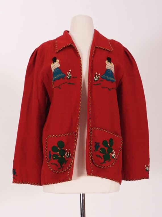 50's Red Wool Mexican Tourist Jacket - image 1