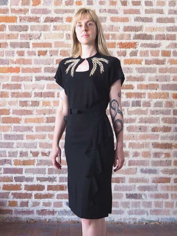 40's Black Cocktail Dress