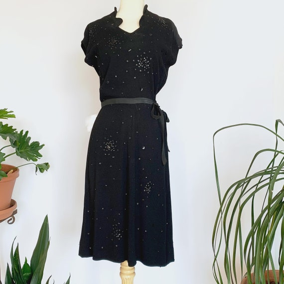 40's Black Sequin Dress w/ Tie Belt