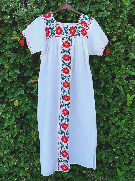 White Mexican Red Flower Embroidered Dress