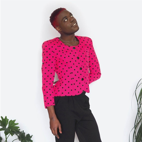 80's Pink & Black Polka Dot Suit Jacket